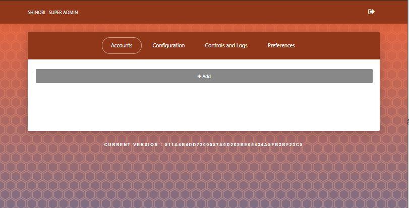 Shinobi im Browser nach erfolgreichen Superuser Login