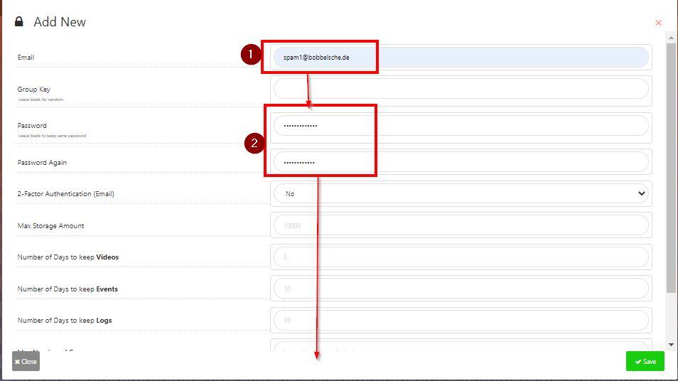 Shinobi - Neuer Benutzer, Email und Passwort wählen