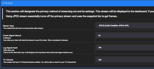 Shinobi ESP32Cam JPEG Einstellungen Stream