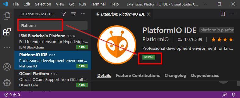 VS Platform IO Installieren