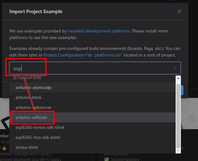 PIO Node MCU - Beispiel Projekt auswählen