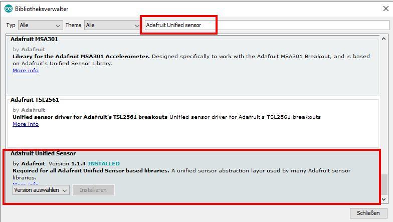 Adafruit Unified Sensor Bibliothek