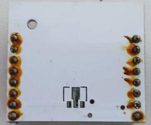 ESP8266 auf Hilfsplatine, Rückansicht